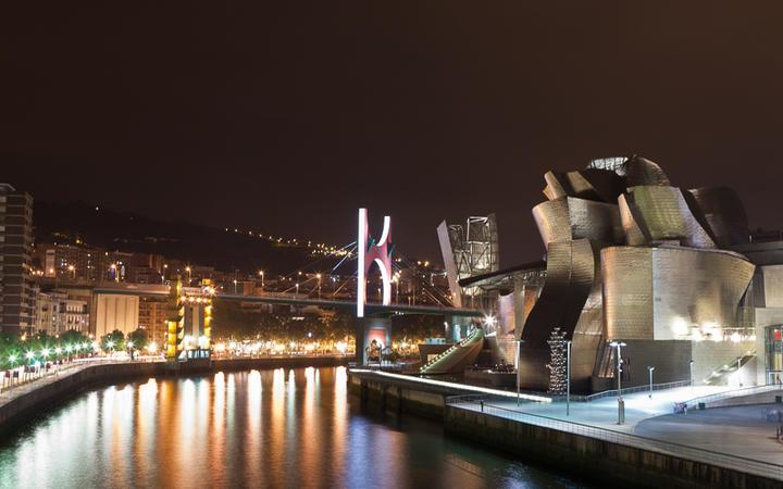 Das Guggenheim Museum in Bilbao bei Nacht © A.B.G. / Shutterstock.com